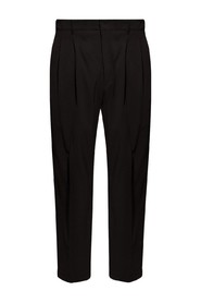 Pleat-front trousers with gathers