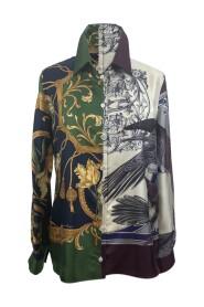 Skjorte med multi -tryk silke med knapper