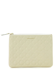 Pochette wallet in white leather