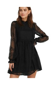 Frill Neck Embroidery Dress