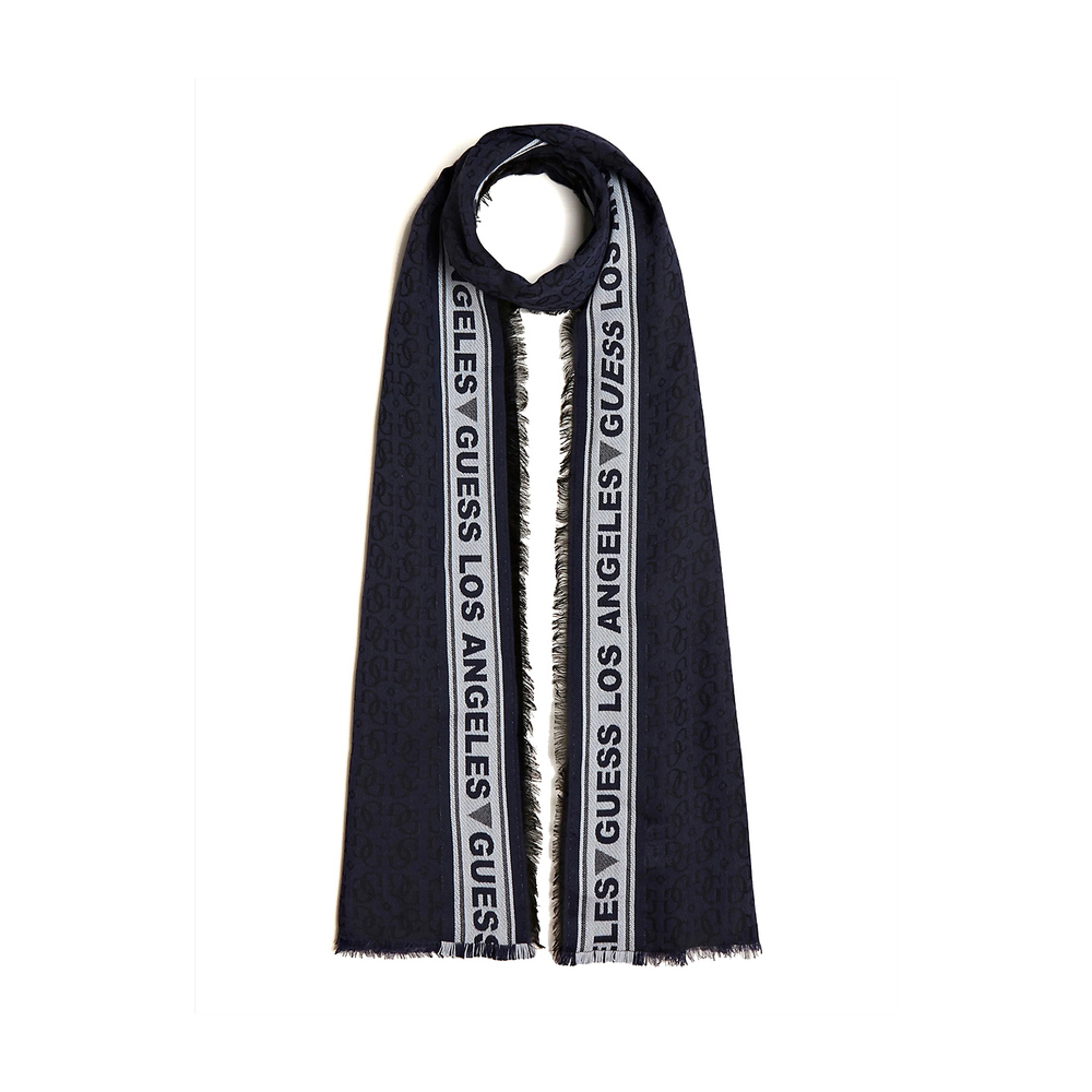 Navy All Over Jacquard Logo Scarf | Guess | Sjaals | Heren accessoires