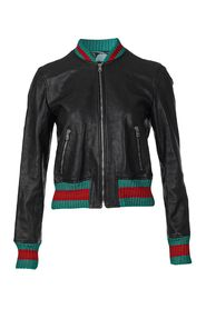 Leather Jacket with Tiger Embroidery Back