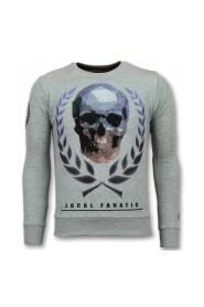 Death's Head Sweater Skull Rhinestone Mænds Sweater