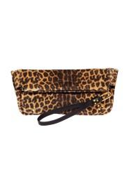 Clic Clac Soft split leather leopard pattern pouch