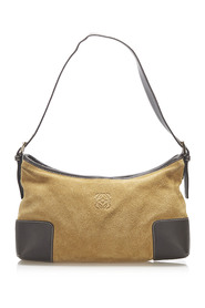 Anagram Suede Shoulder Bag