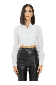 Short blouse with embroidered ascot tie