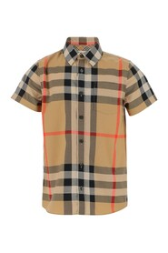 Vintage check shirt Front closure with buttons Short sleeves