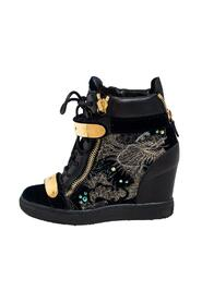 Leather and Velvet Embroidered Lorenz Wedge Sneakers