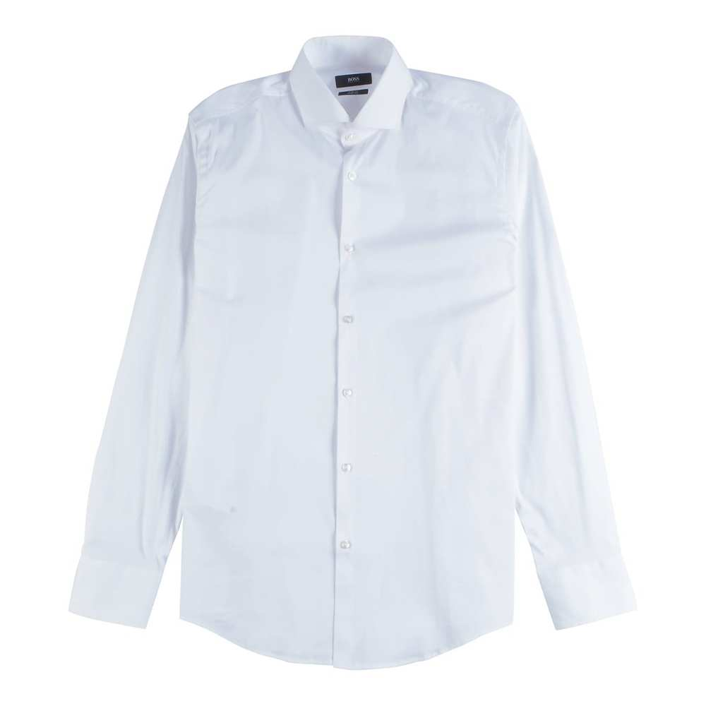 Slim Fit Shirt i en Stretchy Cotton Blend Light White