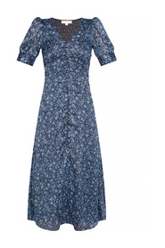 Patterned dress with lurex thread