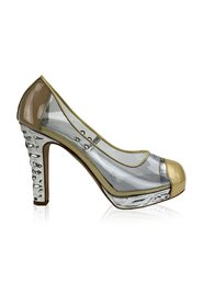 Clear Vinyl Golden Cap Toe Silver Heels Platform Pumps Size 38