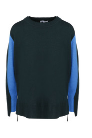CONTRASTING INSERTS ASYMMETRIC SWEATER