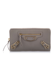 Classic Metallic Edge Long Wallet Leather Calf Italy