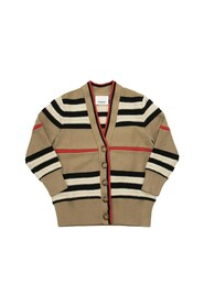 LEETA Wool and cashmere cardigan with iconic striped pattern