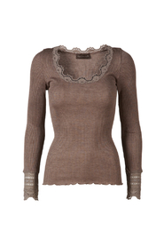 silk top with lace sleeves - Brown Melange