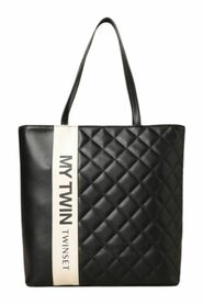 Shopping bag in quilted faux leather with logo