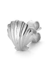 Salon Scallop Front ear stud, sterling silver