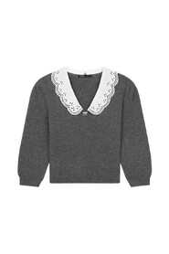 Maxi embroidered Claudine collar sweater