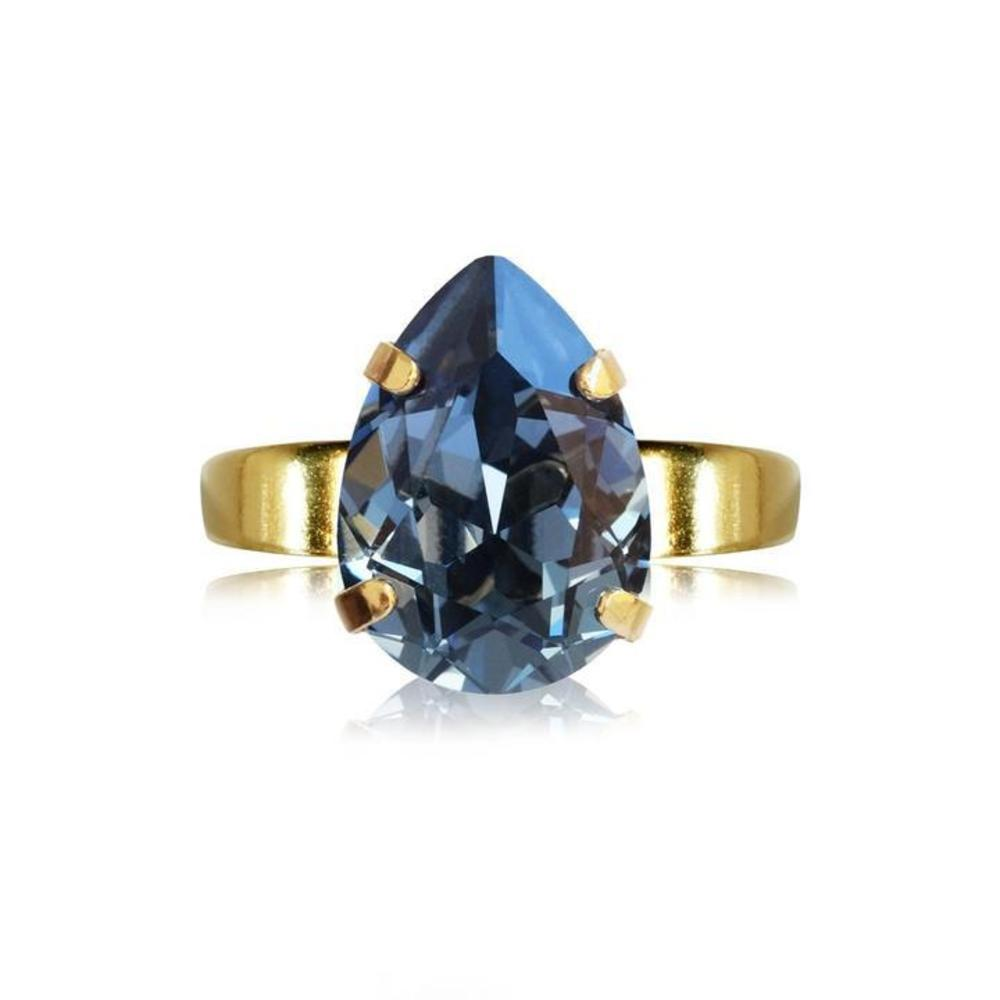 Caroline Svedbom Mini Drop Ring Denim blue gold