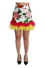 Floral Brocade High Mini Skirt