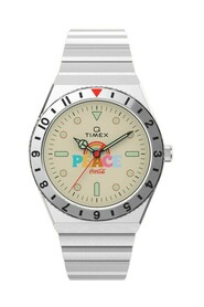 Q-timex x Coca-Cola Unity Collection stainless steel bracelet watch