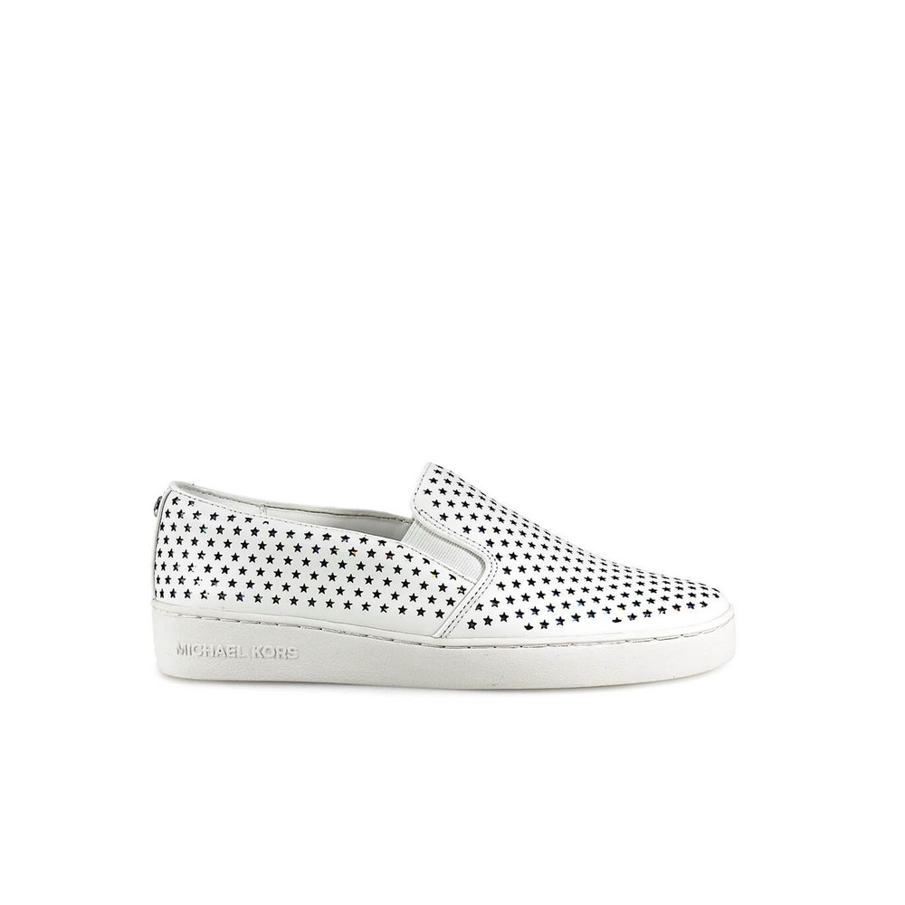 KEATON WHITE LEATHER STARS SLIP ON