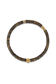 Men's Wristband with Brown Heishi Beads and Gold