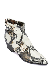 Snake printed leather ankle boots