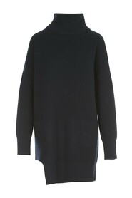 HIGH NECK LONG SWEATER W/POCKETS IN FRONT