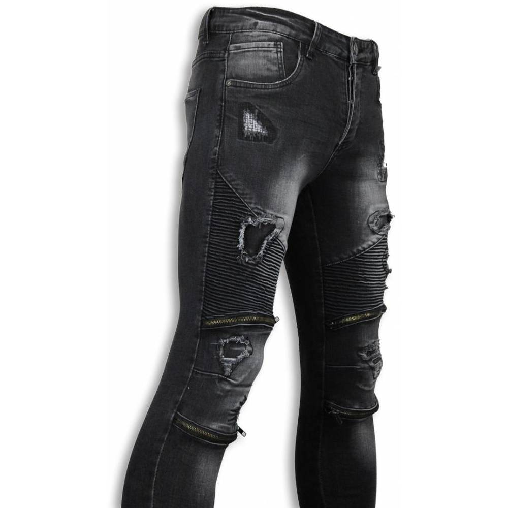 Slim Fit Damaged Biker Jeans With Zippers