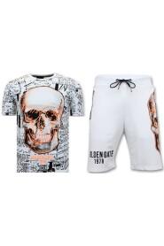 Jogging Suit Short - Skull Neon Print - F7356 / 7