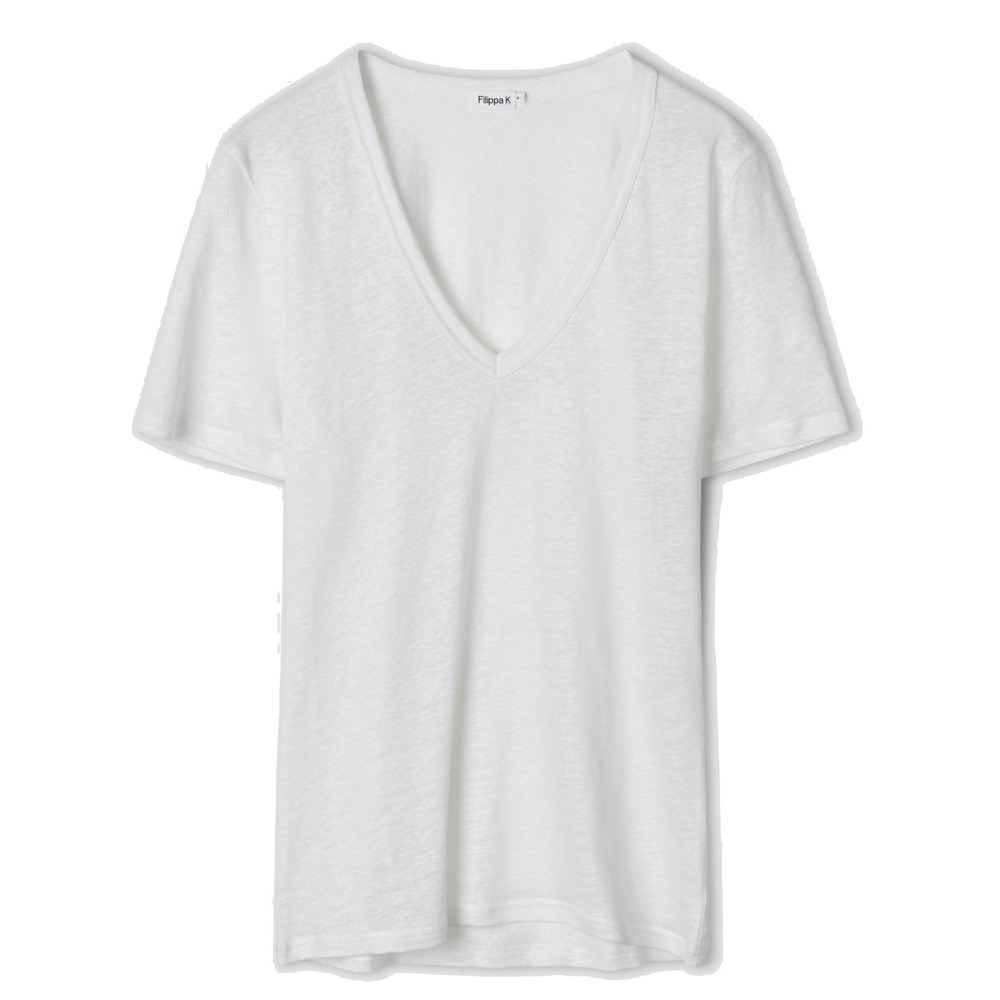 Filippa K Deep V-neck Linen Tee white