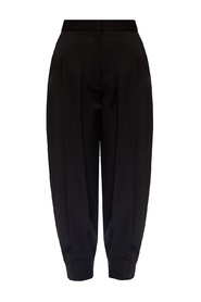 Wool pleat-front trousers
