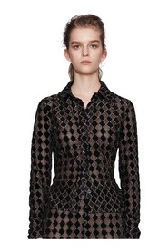 Nevena Jersey Lurex Burnout - Diamond Cedar Shirt