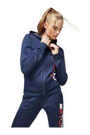 TOMMY SPORT S10S100092 HOODY ZIP SWEATER LONGWEAR Kvinder blå
