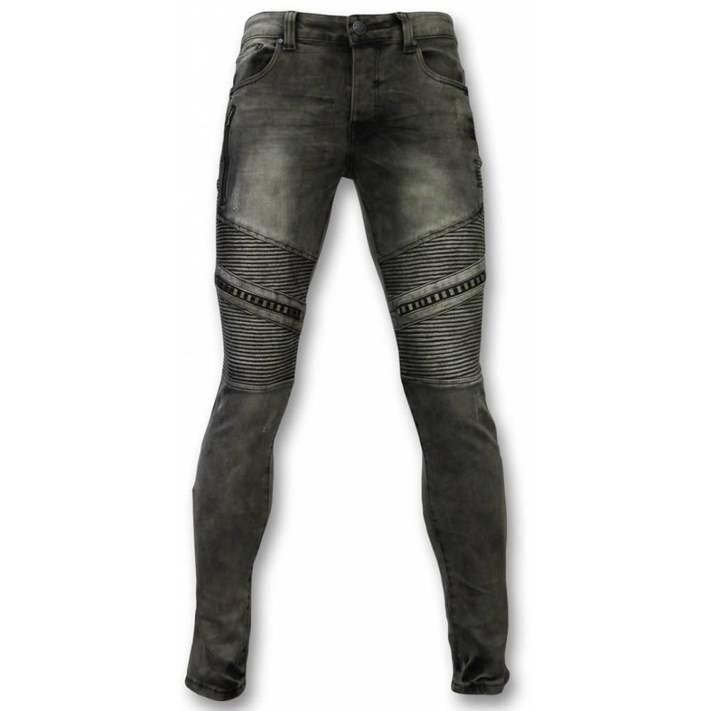 Eksklusive Jeans - Slim Fit Ripped Metal & lynlås Dele Jeans