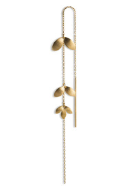 Chain Earring with 3 Leaves, gold-plated sterling silver