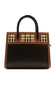Medium Leather and Vintage Check Two-handle Title Bag