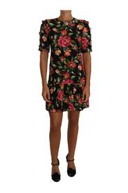 Floral Crystal Buttons Dress