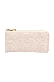 Wave Quilted Leather Long Wallet