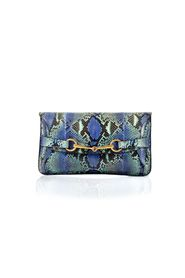 Shades of Blue Snake Skin Horsebit Large Clutch