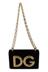 Velvet Leather Gold DG  Clutch Bag