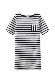 Petit Bateau - Kjole, Robe SS -  Marshmallow White / Smoking Blue