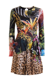 Jungle and leopard printed dress
