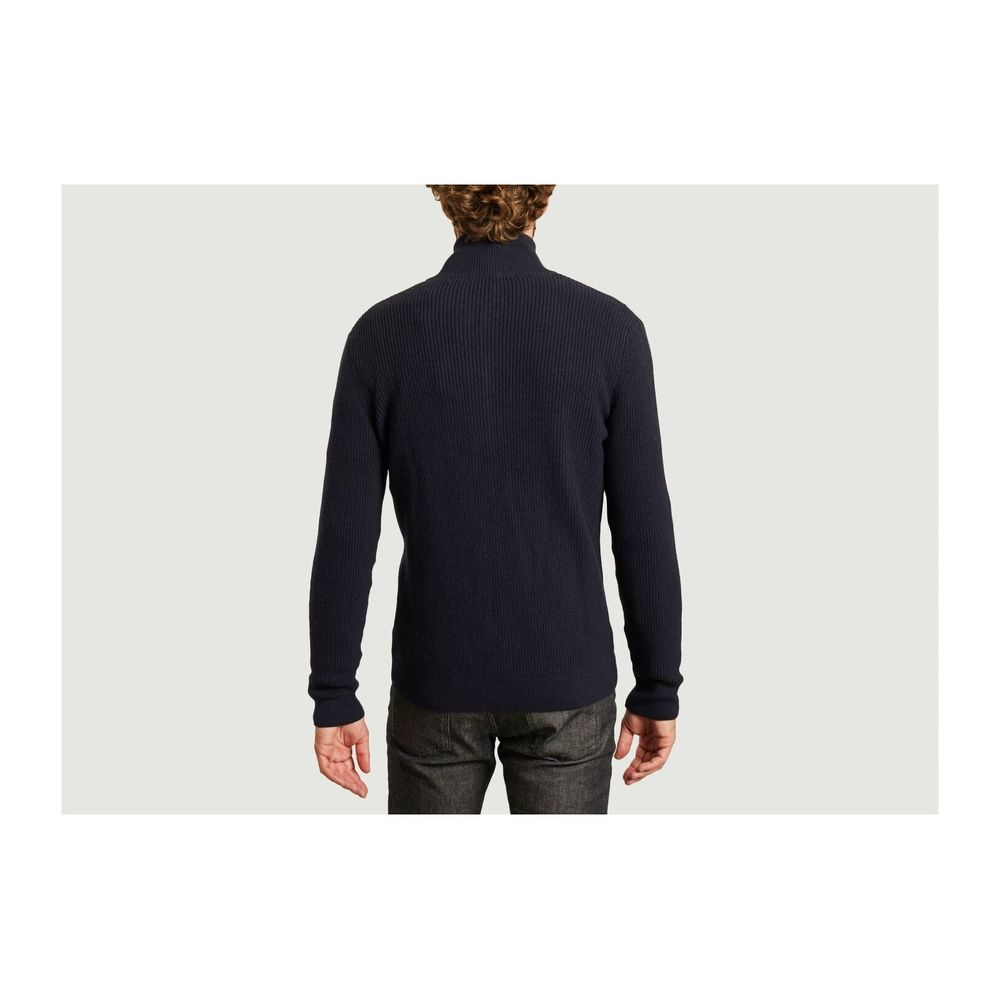 Knowledge Cotton Apparel Navy Blue Valley organic cotton and organic wool zipped cardigan Knowledge Cotton Apparel