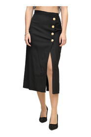 Longuette Skirt with Gold Buttons