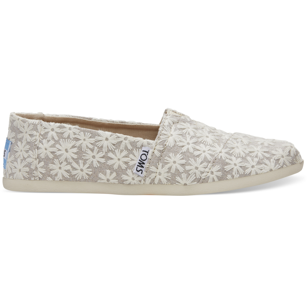 Natural Daisy Metallic Toms Alpargata