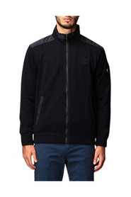 Zip cardigan with leather and nylon inserts