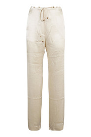 MAXI BELTED FLAX TROUSERS