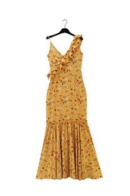 ALMINA Yellow One Shoulder Long Dress